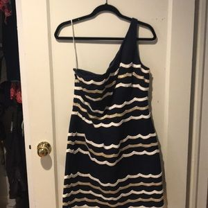 Lilly Pulitzer Navy/White/gold one shoulder dress